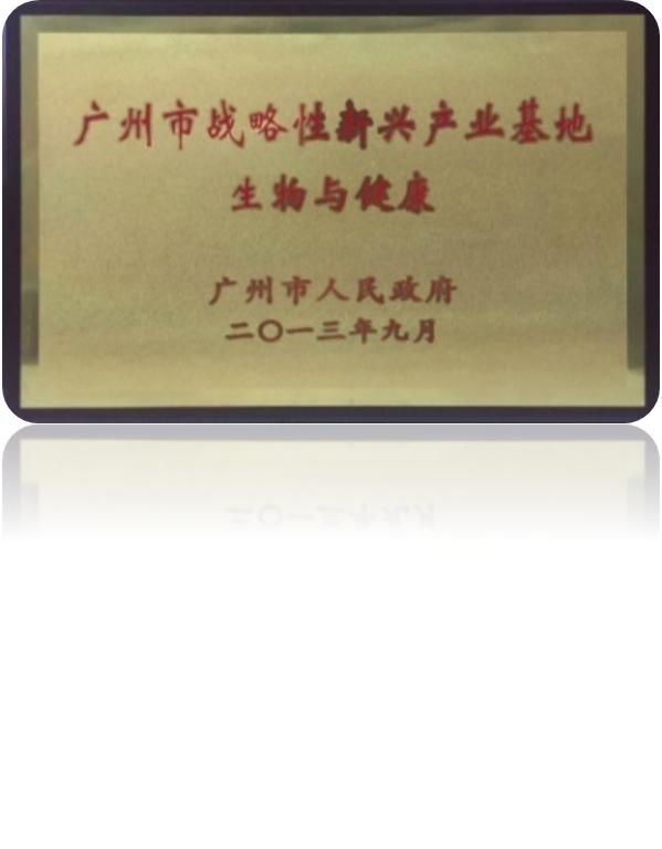 2013年9月  广州市战略性新兴产业基地(生物医药)认定