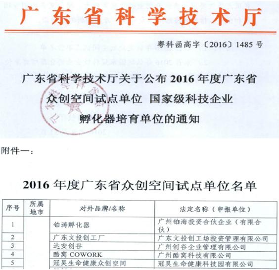 2016年5月      广东省众创空间试点单位